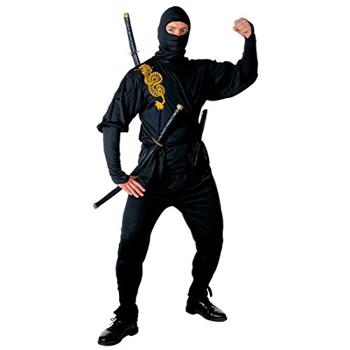 Ninja Kostüm Asia Ninjakostüm Herren L (52) Samurai Herrenkostüm Krieger Fasching Asiatischer Kämpfer Faschingskostüm Kampfsport Anzug Karnevalskostüm Sport Mottoparty Verkleidung Karneval Kostüme