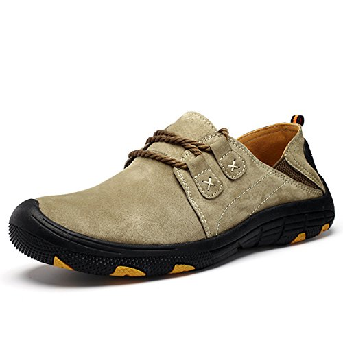 Hiking Shoes for Men Breathable Lace up Athletic Sneakers Outdoor Walking Running Street Sport Shoes Khaki 8.5 B(M) US