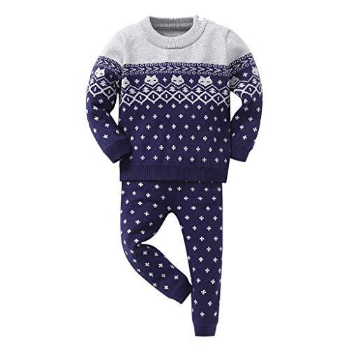 Kolylong® Kleinkind Baby Jungen und Mädchen Rundhals Langarm T-Shirt Strickjacken und Hose Trainingsanzug Bekleidungsset Outfits Schlafanzug mit Druck Hausdienst Pyjama 6 Monate- 3 Jahre