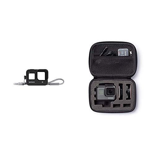 GoPro Hülle + Trageband für HERO8 Black - Blackout (Offizielles GoPro Zubehör) Schwarz & AmazonBasics Tragetasche für GoPro Actionkameras, Gr. XS