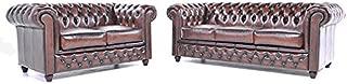 The Chesterfield Brand- Conjunto Sofás Chester Marrón Gastado - 2 / 3 plazas - Hecho artesanal en cuero natural