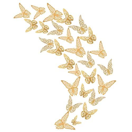 DealMux - Decoración de pared de mariposa dorada en 3D, pegatina de papel de mariposa, mariposa hueca, decoración de tartas de fiesta, para dormitorio, baño, sala de estar, 36 piezas, 3 tamaños