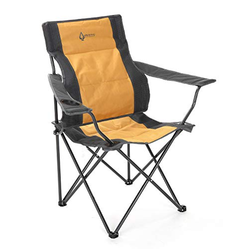 ARROWHEAD OUTDOOR Portable Folding Camping Quad Chair w/Lumbar Back Support, Cup...