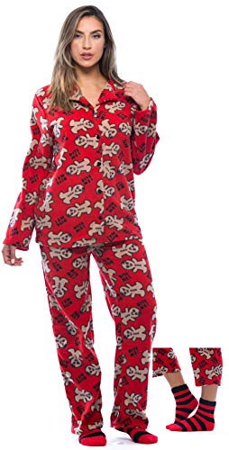 6370-10237-XL #FollowMe Printed Microfleece Button Front PJ Pant Set with Socks,Red - Bite Me Gingergirl,X-Large