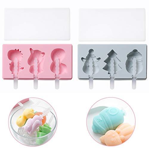 Seully 2 Stück Silikon Eiscreme Eisformen,Hausgemachte Handgemachte DIY-Eisform,Cartoon Einhorn/Schneemann Rentier,Hausgemachte Handgemachte DIY Eisform + 20 Stück Plastikstangen (Blau,Pink)