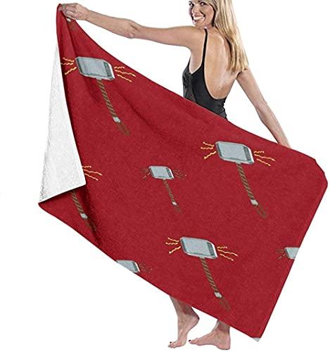 Toalla De Playa Microfibra,Thor Hammer Rojo Toalla De Baño Grande Toalla De Playa Ligera Viajes Familiares En Hoteles Natación Deportes De Fitness