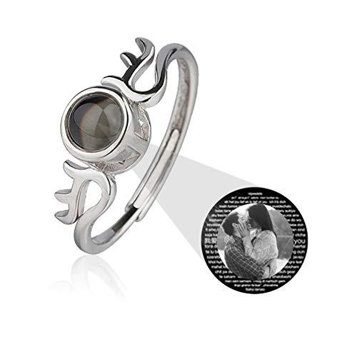 Gepersonaliseerde Ring IK HOU VAN JE100 Talen Beloven Ring Aangepaste Fotoprojectie Ring Verjaardagscadeau Voor Vrouwen