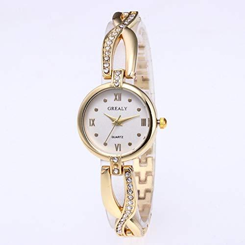 JZDH Frauen-Uhren Trendy Mode Damenuhr Diamant Retro-Mode-Armband-Armband-Uhr Dame Armbanduhr (Color : Golden White Noodles)