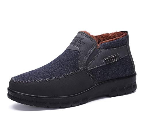 Men's Snow Boots Moccasins Slippers Plush Loafers Warm Lined Driving Indoor Outdoor Winter Non-Slip Elderly Walking Sneaker Shoes Gray(6.5 M US,24 cm Heel to Toe