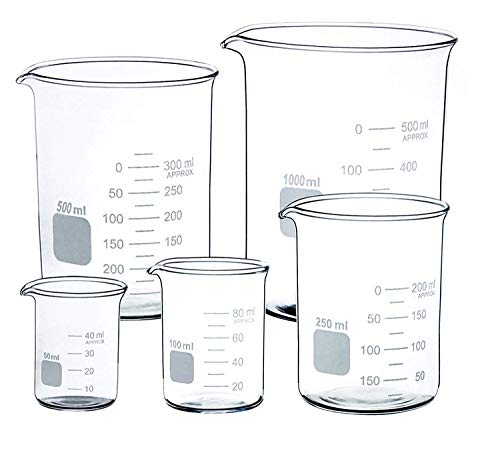 Glass Beaker Set of 5 Borosilicate Thick Low Form - 50ml, 100ml, 250ml, 500ml, 1000ml