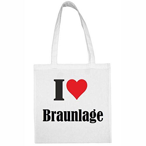 Tasche I Love Braunlage Größe 38x42 Farbe Weiss Druck Schwarz