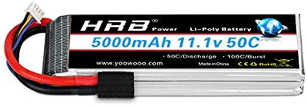HRB 11.1V 5000mAh 3S 50C-100C LiPo Battery TR Plug for RC Cars for Tracxas Slash vxl Slash E-maxx Brushless Axial e-revo Brushless and Spartan Models