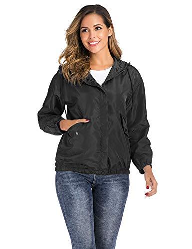 Enjoyoself Leichte Regenjacke Wasserdihct Kurze Windbreaker Zip Jacke Dünne Wetterjacken für Outdoor,2-Schwarz,L