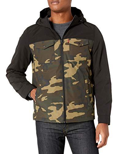 Levi's Men's Artic Cloth Filled Performance Rain Shell Jacket, Camo/Black, Small