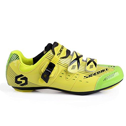TXJ® Unisexo Zapatos de Bicicleta de Carretera (Elija un Tamaño Más Grande de lo Habitual)(SD-003 Amarillo-Verde,43)