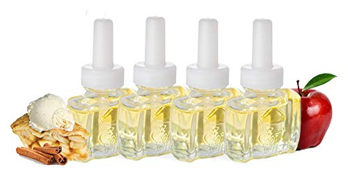 (4 Pack) Scent Fill Scented Oil Refills Cinnamon Apple Fits Air Wick Scented Oil Warners