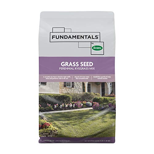 Fundamentals by Scotts Grass Seed Perennial Ryegrass Mix: Up to 1,249 sq. ft., For High Traffic Areas, Helps Control Erosion, 3 lbs.
