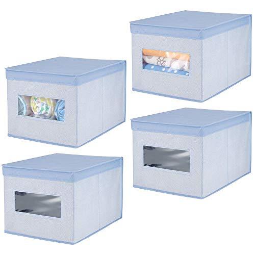 mDesign Juego de 4 cajas de tela – Cajas con tapa de fibra sintética transpirable – Caja organizadora ideal como organizador de armarios – Caja para guardar ropa o accesorios de bebé – azul