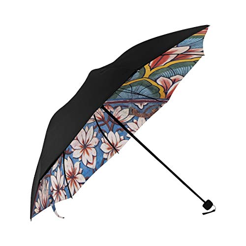 Mural Decorative Wall Hanging Art Compact Travel Umbrella Sun Parasol Anti Uv Foldable Umbrellas(underside Printing) As Best Present For Women Sun Uv Protection