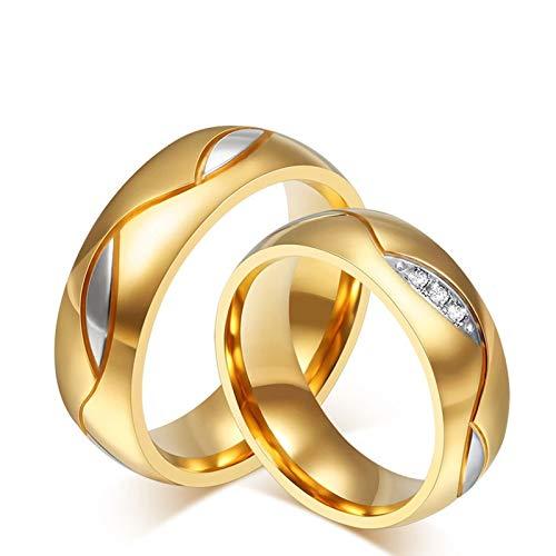 Adisaer Ring Damen Vintage Paar Ring Gold Herren Titanring Welle Twist Augen Zweigen Blätter Konkav Hoch Poliert Gewölbt Zirkonia Edelstahl Ring Paarpreis Kostenlos Gravur