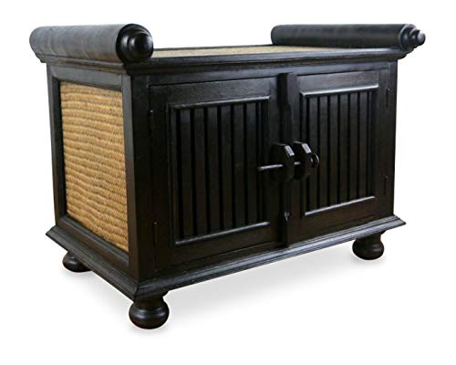 livasia Rattansideboard TV-Bank HiFi-Sideboard asiatische Phono Möbel Sitzbank (klein)