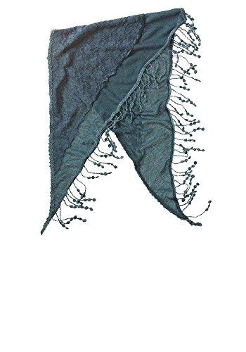 Modassori Damen-Mode Tuch Schal dreieckig Fransen Blau-Grün BoHo-Stil Trend-Look lässig
