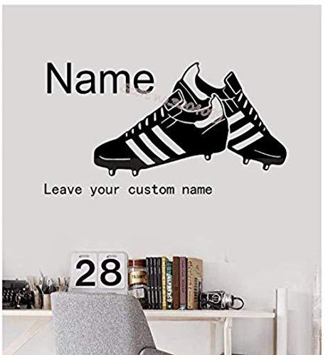 Fußballschuhe Wandtattoo Hübsche Fußballschuhe Personalisierte benutzerdefinierte Name Vinyl Aufkleber Jungen Kinder Schlafzimmer Home Decor Wandbild 60cm x 30cm