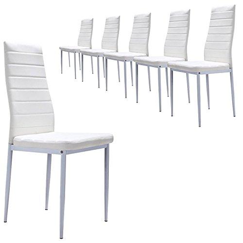 MOG CASA - Juego de 6 sillas de Comedor con Patas metálicas y tapizadas de Piel sintética alcochado - Dimensiones 42x42x98cm - (Blanco 6)