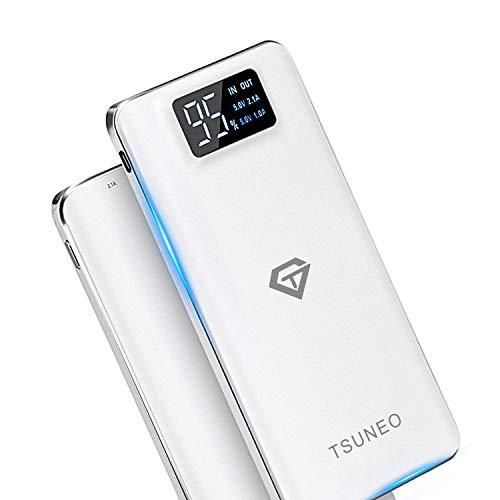 Tsuneo モバイルバッテリー 大容量 15600mAh 軽量 薄型 LCD残量表示 LEDライト付き 2 USBポート(1A+2.1A)...