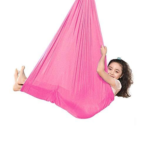 ZCXBHD Columpio De Terapia De Interior con Capacidad Carga 200Kg Hamaca De Yoga Aérea para Niños o Adultos con Necesidades Especiales con Autismo (Color : Pink, Size : 100x280cm/39x110in)