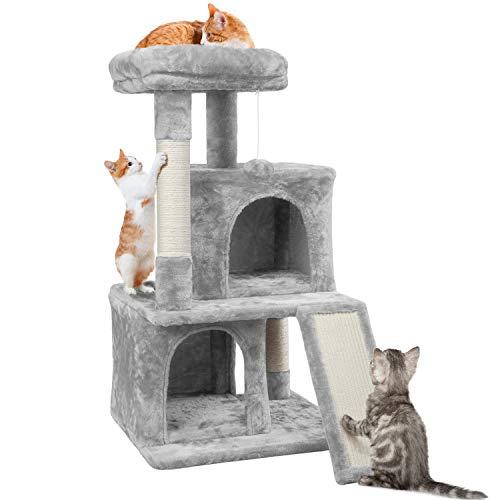 Yaheetech Rascador para Gatos Arbol para Gato 91cm Castillo Juegos de Mascota con Nidos, Plaraforma Gris