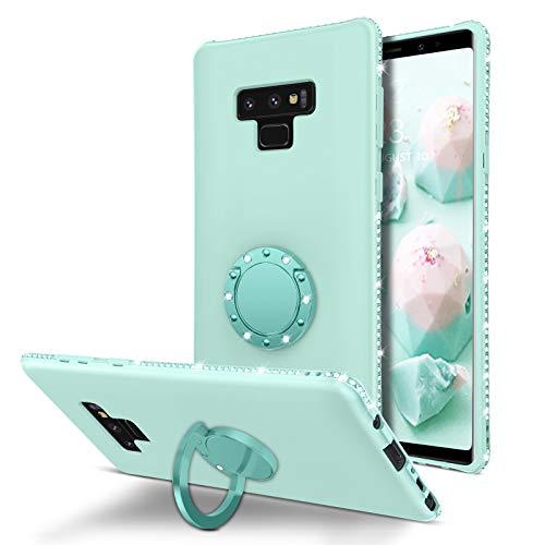 BENTOBEN Galaxy Note 9 Case, Phone Case Samsung Note 9, Slim Silicone | 360° Ring Holder Kickstand | Soft Rubber Hybrid Hard Protection Shockproof TPU Bumper Non-Slip Cute Girls Women Cover,Mint Green