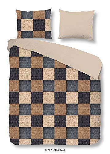 good morning Parure de lit réversible, marron, 155 x 200 cm