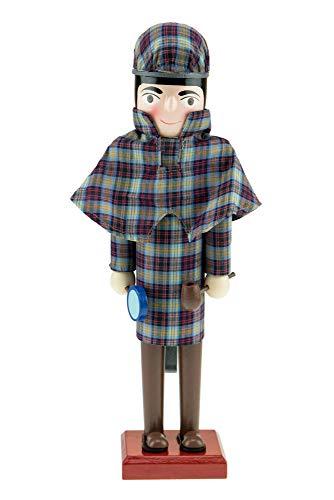 Criações inteligentes – Sherlock Holmes Quebra-Nozes de Natal – Boneco decorativo tradicional de madeira em um casaco de detetive marrom tweed inglês com um amplificador de vidro e cachimbo – 30 cm