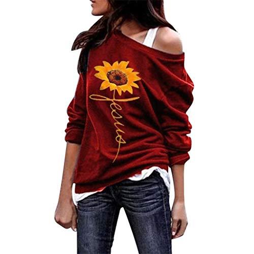 T-Shirt Damen Tops Lange Ärmel Casual Trägerlose Schulter Sonnenblume Drucken Swing Mode Weste Blusen Oberteile Elegant Losen Tunika (L, Rot)