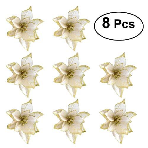 OULII Ornamento delle corone di albero dei fiori artificiali di scintillio per la decorazione natalizia di natale 8pcs (oro)