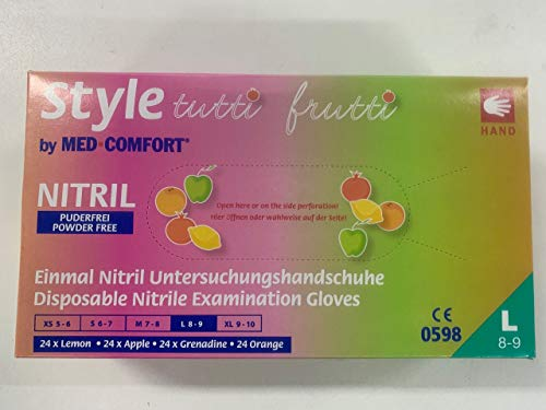 Nitril-Einmalhandschuhe Style tutti frutti, 96 Handschuhe in einer Spenderbox, Farbmix pink, orange gelb und grün, TUTTI FRUTTI Größe L