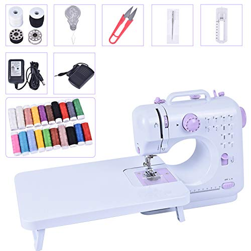Asany Sewing Machine for Beginners Adults, Household Mini Sewing Machine Tool with Extension Table, 12 Built-in Stitches and 2 Speeds Double Thread, 20 Colorful Threads