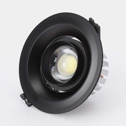 Any leampp LED Draaibaar Inbouw aluminium ronde plafond licht Anti-glare Downlight for Cabinet paneelinbouwlamp (Color : Balck 6000k white light, Size : 15w)