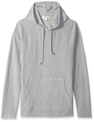 Marca Amazon - Goodthreads - Sudadera térmica flameada de manga larga con capucha para hombre, Gris (heather grey), L