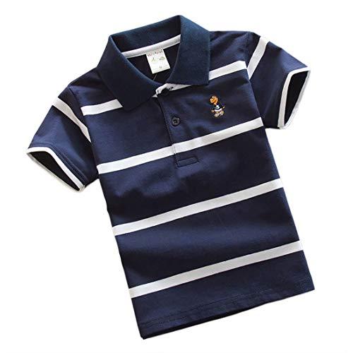 Jungen Polo Shirt Kurzärmlig Sommer T-Shirt Streifen Kinder Reverskragen Tops Jugendliche Schule Oberteil Jersey für 7-13 Jahre ((16#) 130/ ~6-7 Jahre, Dunkelblau)