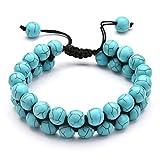 Aeici Bracelet Yoga Chakra 8Mm Bracelet Turquoise Réglable Double Couches Bracelet Femme Pas Cher
