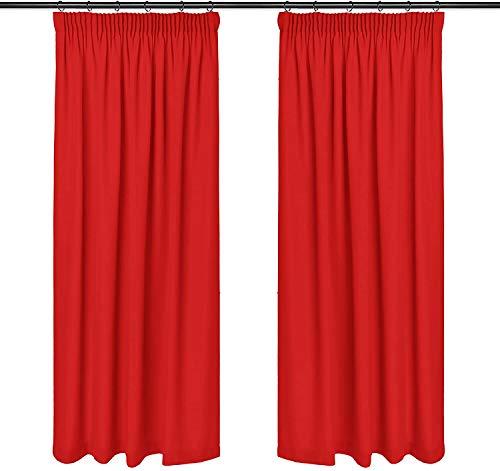 Rollmayer Vorhänge mit Bleistift Kollektion Vivid (Rot Mexikanisch 45, 135x150 cm - BxH) Blickdicht Uni einfarbig Gardinen Schal für Schlafzimmer Kinderzimmer Wohnzimmer