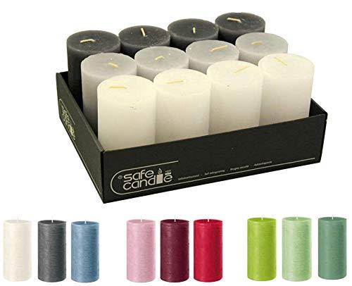Candele a colonna, di alta qualità e rustiche, 12 pezzi, SafeCandle, candele di cera, candele rustiche/candele dell'Avvento natalizie (Midnight Color-Mix, Standard: altezza 11 cm/Ø 6 cm)