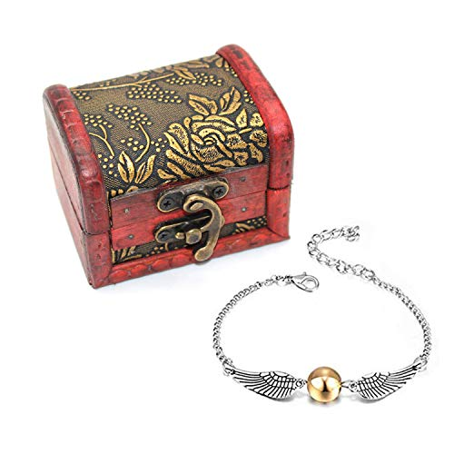 4 UNIDS Harry Potter Inspired Necklace Set Gold Snitch Bracelet con Caja de Regalo para la colección o Decoraciones de los fanáticos de Harry Potter