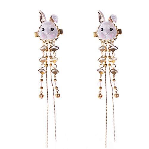 TIANTIAN 2 Pcs Antique Hair Ornaments Headdress Hanfu Accessories Cute Animal Tassels Costume Hairpin Pair Clip Jewelry for Bride Cosplay Geisha Rabbit