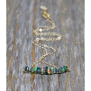 Dainty Genuine Black Opal Gemstone Bar Necklace- 14k Gold Filled