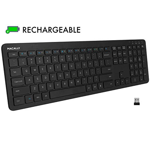 Macally 2.4G Wireless Keyboard, Ultra Slim Full Size Keyboard with Numeric Keypad, Scissor Keycaps, Built in Rechargeable Battery for Computer Desktop PC Laptop Surface Smart TV and Windows 10 8 7