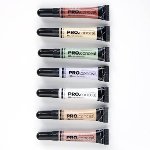 L.A. Girl Pro Conceal Set Orange, Yellow, Green, Lavender, Peach, Light Yellow Correctors and Highlighter