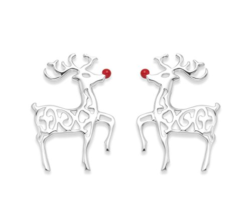 Heather Needham Sterling Silver Rudolph the Red Nosed Reindeer Earrings - SIZE: 10mm x 8mm (2/5ths inch). MUCH SMALLER THAN SHOWN. Christmas boxed NEW LOWER PRICE 04550/XMAS/B41